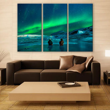 Alaska Northern Lights Print 3 Panels Print Wall Decor Fine Art Landscape Photography Repro Print for Home and Office Wall Decoration
