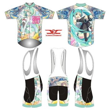 Crossrider brand 2018 Hatsune Miku cosplay costume racing gear short sleeve cycling jersey set men mtb bicycle clothing kit gel