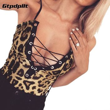 Gtpdpllt Leopard Print Skinny Sexy Bodysuit Women V-Neck Spaghetti Strap Lace Up Women Rompers Backless Ladies Bodysuits
