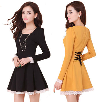 Summer Back Cross Lace-Up Dress
