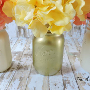 Mason jar set, gold and ivory mason jars,table centerpiece,shabby chic bridal shower,shabby chic nursery,shabby chic wedding,gold and white
