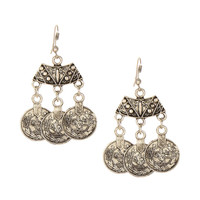 Silver Coin Chandelier Earrings