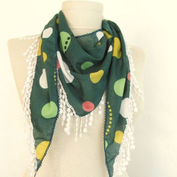 Green scarves..%100 Cotton -fall -black friday