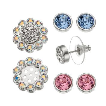 Crystal Colors Silver Tone Interchangeable Flower Jacket & Stud Earring Set - Made with Swarovski Elements (Grey)