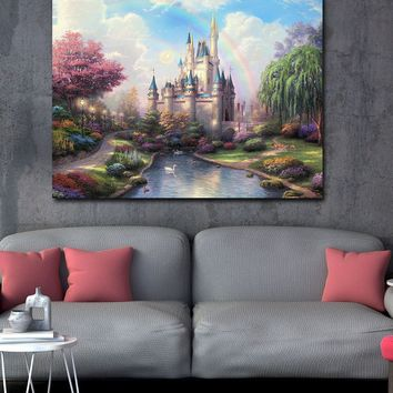Princess Fairy Castle Canvas Wall Art, Kids Room Decor