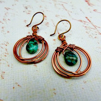 Small Signature Antique Copper Layered Hoop Earrings with Genuine Turquoise Teardrops