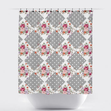 Gray Diamond Shabby Chic Floral Shower Curtain