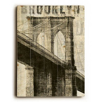 Vintage NY Brooklyn Bridge by Artist Michael Mullan Wood Sign