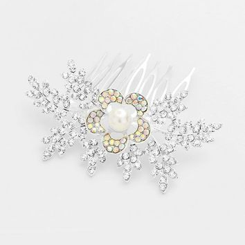Crystal & Pearl Accent Floral Hair Comb