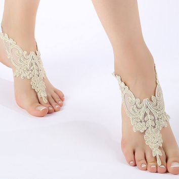 Free ship champagne gold Barefoot Sandals, french lace, bridal shoes,  Wedding, beach wedding  barefoot sandals