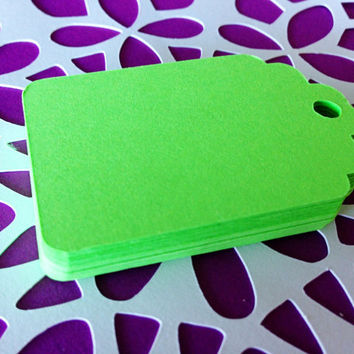 25 NEON Green -  Gift Tags -  Hang Tags - Die Cuts