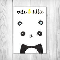 Panda Painting - Quote - Cute and Little - Canvas - Nursery