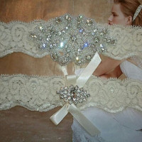 SALE - Shop Best Seller - Bridal Garter Set - Crystal Rhinestone on a IVORY Lace - Style G2047