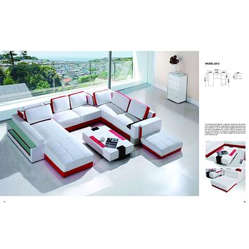 Luxury Vicenga White And Red ultra Contemporary U-Shaped Sectional Sofa