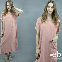 Linen Maxi Dress Rose Dress 90s Maxi Dress Minimal Dress Minimalist Dress 90s Dress 1990s Linen Dress Pink Dress Easygoing Dress S M L