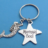 Mermaid Soul, Star, Keychain, Keyring, Mermaid, Key chain, Key ring, The little mermaid, Birthday, Friendship, Gift, Jewelry, Accessory