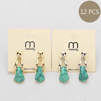 Turquoise Stone Earrings (12 Pairs)