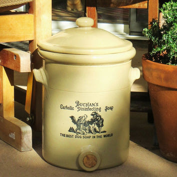Victorian Antique Stoneware Crock for Buchans Carbolic Disinfecting Soap