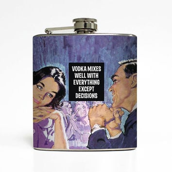 Funny Alcohol Flask Vodka Bad Decisions Liquid Courage Ephemera Cocktail Adult Birthday Gift Stainless Steel 6 oz Liquor Hip Flask LC-1442