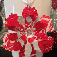Recycled Coca-Cola Soda Can Flower Christmas Ornament