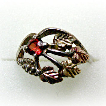 Black Hills Gold Garnet Ring, Gold, Sterling, Leaves and Berries,  BHG by Coleman, 925 Silver Ring, Marked CCO, Size 6