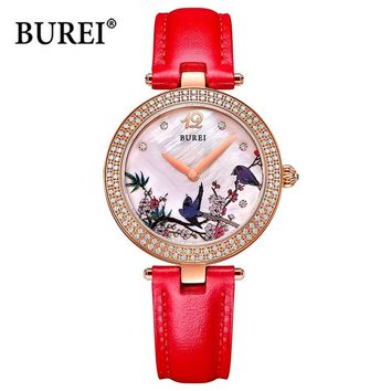 BUREI Top Brand Luxury Watch Waterproof Fashion Female Antique Ladies Quartz Wrist Watch Clock Women 2017 Hours Relogio Feminino