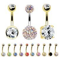 BodyJ4You Belly Button Rings 12PC Navel Ring Goldtone Set Gift Box