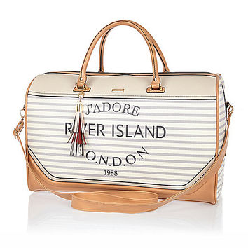 River Island Womens Cream stripe Paris print weekend bag