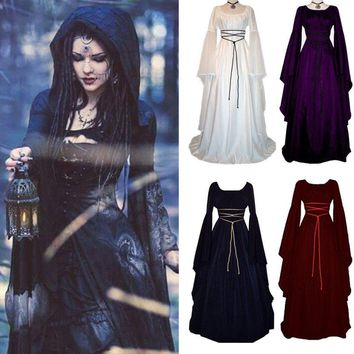 Women Renaissance Retro Witch Long Sleeve Costume Halloween Cosplay Dress