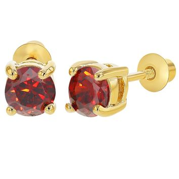 """18k Gold Plated Prong Set January Red Crystal Girls Screw Back Earrings 0.19"""""""