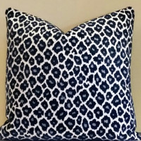 Pillow, Cheetah Print Navy Blue pillow cover, Fabric both sides