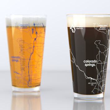 Colorado Springs, CO - U.S Air Force Academy - College Town Map Pint Glass Set
