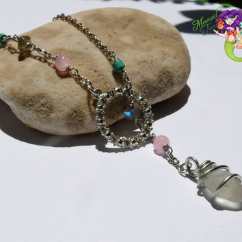 Seaglass Lariat Necklace - wire wrapped sea glass jewelry from Hawaii for beach brides & island weddings