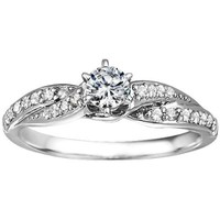 Silver Twisted Shank Engagement Ring with CZ (0.46 ct. twt.)
