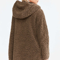 Ecote Teddy Cosy Reversible Khaki Hooded Jacket - Urban Outfitters