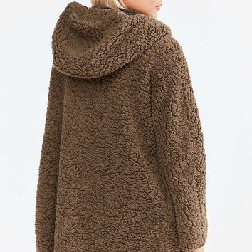 b110a157 Ecote Teddy Cosy Reversible Khaki Hooded Jacket - Urban Outfitters