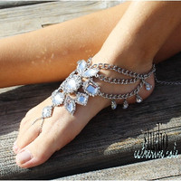 Barefoot sandals, Gypsy Sole, silver, foot jewelry, footless, wedding, Boho, hippie, crystal | SJ8