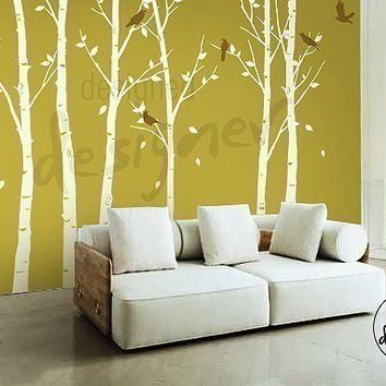 wall sticker wall decal Art - Forest tree Wall decals with birds