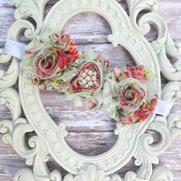Vintage Floral Shabby Chic Fabric Flower Elastic Headband, Shabby Flower Headband, Baby Headband