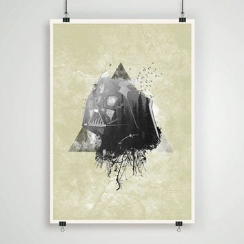 Star wars Darth Vader Helmet Double exposure artistic portrait a3 sized art print