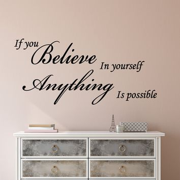 Vinyl Wall Decal Stickers Motivation Quote Words Believe In Yourself Inspiring Letters 2077ig (22.5 in x 10 in)