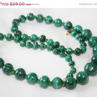 Summer Sale Malachite Bead Necklace Natural Genuine Stone 1940s Jewelry