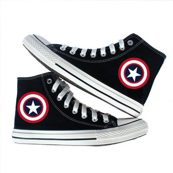 Marvel Superman Spider-Man Captain America Suicide Squad Punisher Canvas Shoes women men shoes teenagers sport Casual Shoes