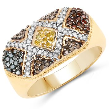 Multi-Colored Natural Diamond 14kt Gold-Over-Sterling Silver .925 Ring