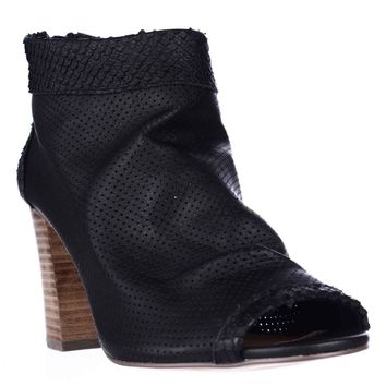 STEVEN by Steve Madden Normandi Peep Toe Slouch Ankle Booties, Black Multi, 7.5 US