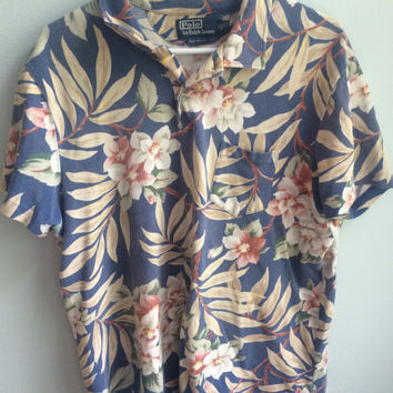 polo ralph lauren hawaiian floral polo shirt / XL