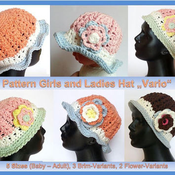 "Girls and Ladies Hat ""Vario"" Pattern, Baby - Adult, 3 Brim Versions, detachable flower in 2 variants"