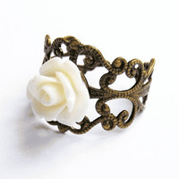 Filigree Flower Ring  - Antiqued-Brass Vintage-Style Filigree Ring with Small Shiny Lucite Rose, Adjustable - Creamy White
