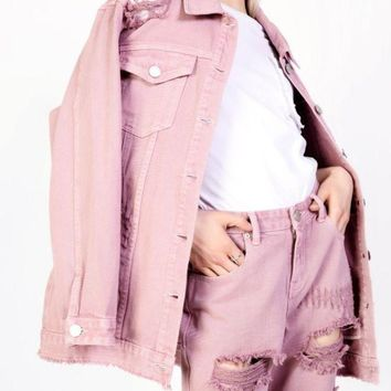 Distressed Oversized Denim Jacket in Washed Rose Pink Finish
