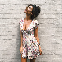 Summer V-neck Print Short Sleeve Slim Ladies Dress One Piece Dress [11423621327]